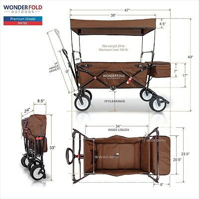All New WonderFold Outdoor Portable Family Folding Wagon with Canopy - Brown