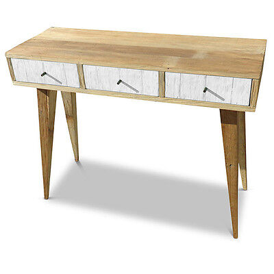 Rustic Wooden Vanity Dressing Hall Table with 3 Drawers Recycled Timber in White