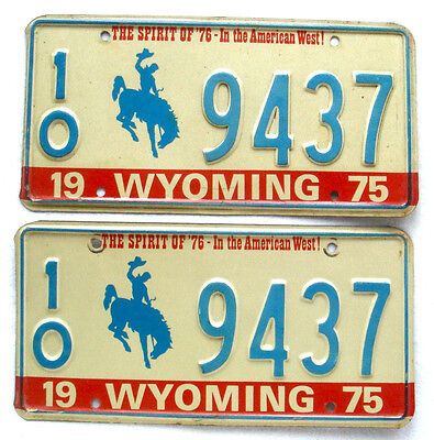Wyoming 1975 Pair License Plate Garage Vintage Bronco Graphic Old Car Auto Tag