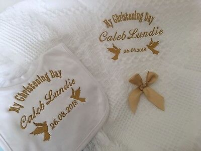 Personalised christening shawl + SATIN SCALLOP BIB DOVES Design in white FREE PP