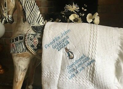 Personalised christening/new baby etc shawl BEATRIX POTTER FREE POST pink/blue