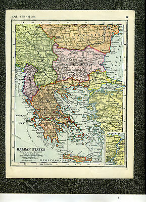 BALKAN STATES AND ITALY G. W. Bacon 1920s Vintage MAP Original