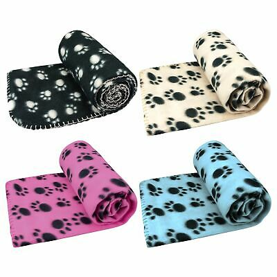 Pet Blanket Dogs & Puppy Cat Paw Print Soft Warm Fleece Bed Travel Basket Car