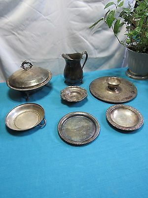 Lot 7 Vtg Silver Plate Dishes Chafing Tray Pitcher Rogers Leonard Poole Props