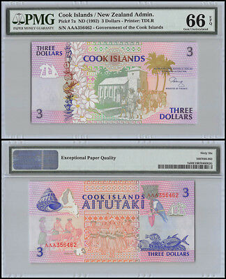 Cook Islands $3 Dollars, ND 1992, P-7a, UNC, PMG 66 EPQ