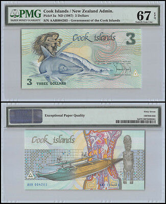 Cook Islands $3 Dollars, ND 1987, P-3a, UNC, PMG 67 EPQ