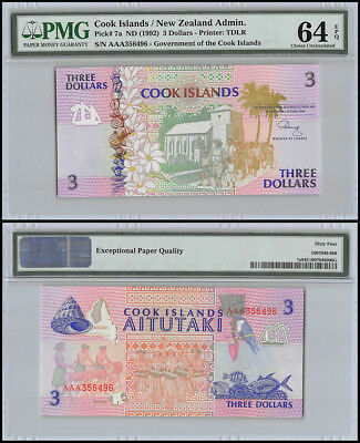 Cook Islands $3 Dollars, ND 1992, P-7a, UNC, PMG 64 EPQ
