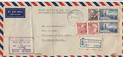 Stamps various Australia 1951 flight cover to New Zealand violet cachet