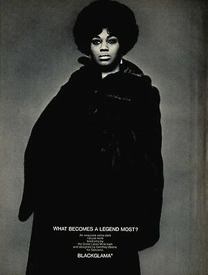 Vintage BLACKGLAMA Print Ad with LEONTYNE PRICE - Proof - Mint Condition