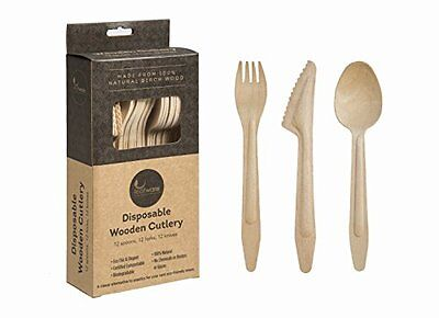 Leafware Disposable Wooden Cutlery Combo Set - 12 Spoons, 12 Forks, 12 Knives