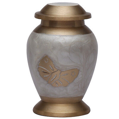 Small Neston Keepsake Brass Funeral Urn, Mini Cremation Urn for Ashes