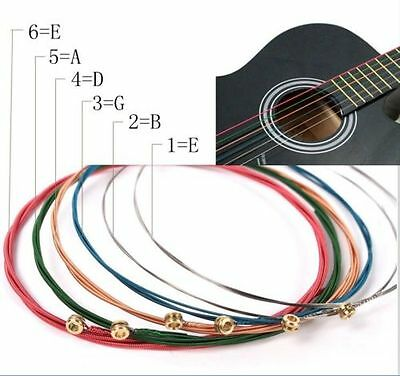 Hot 6pcs Steel Rainbow Colorful Color Strings for Acoustic Guitar High Quality