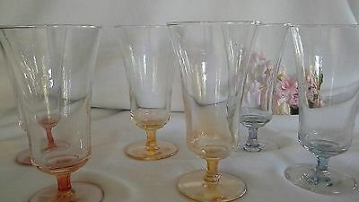 Vintage harlequin glasses parfait sundae lustre look glass x6 coloured dessert