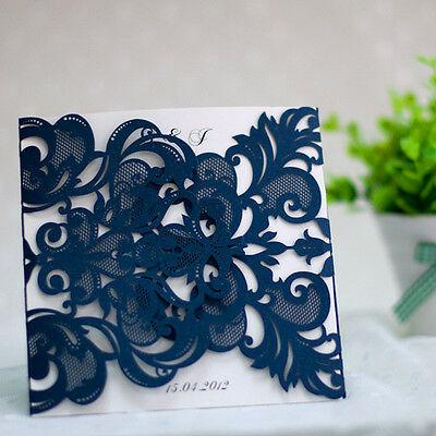50x Laser Cut Navy Lace Style Wedding Invitations Engagement with envelope