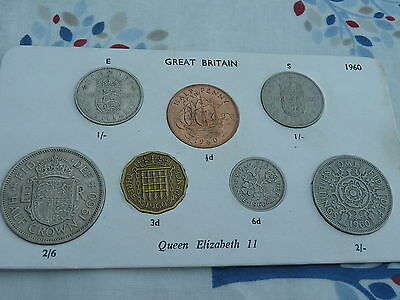 1960 Full Set of 7 Coins in Display Card - Ideal Birthday Present