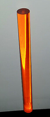 "Clear Amber Translucent Acrylic Plexiglass Lucite Rod 1"" Diameter 12"" Inch Long"