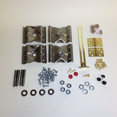 Complete Hardware Kit For Piano Bench - Brackets, Hinges, Bumpers, Screws