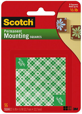 "3M Scotch Permanent Mounting Squares Double Sided Foam 1/2"" 12.7mm 96ct"
