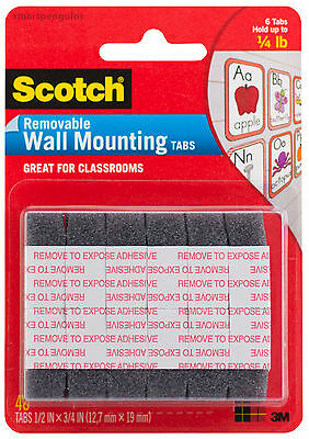"""3M Scotch Removable Wall Mounting Foam Tabs 48ct 1/2"""" x 3/4""""  12.7mm x 19mm"""