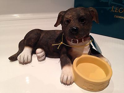 Brindle Staffordshire Bull Terrier Staffy Dog With Bowl Ornament Gift Figurine