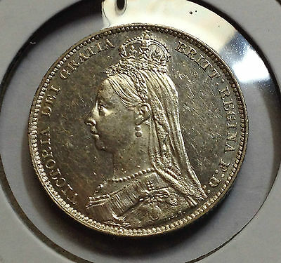 1892 Great Britain Silver Uncirculated Shilling Awesome Coin
