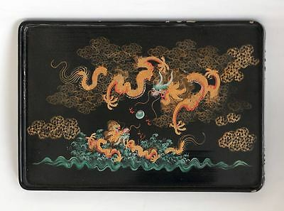Old CHINA painted lacquer tray with dragon motif