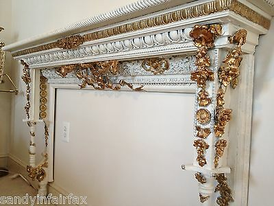 Vintage ~ Custom ~ Hand Carved Gilded French Mantel ~ Wall Console Circa 1889