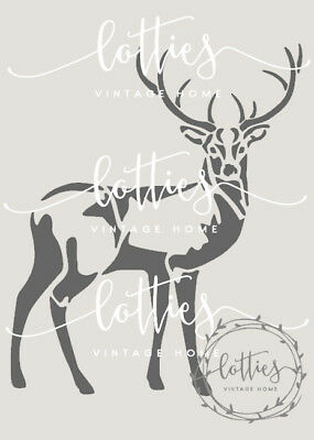 STENCIL A5 STAGS HEAD ❤️ Furniture Fabric Craft ❤️ Vintage Shabby Chic STAG