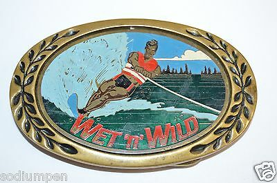 WOW Vintage Water Skiing Boating Lake Wet N' Wild Solid Brass Belt Buckle RARE