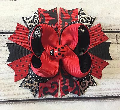 Handmade Ladybug Stacked Boutique Hair Bow ,Red Polka Dot and Black Hair Bow