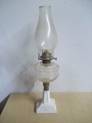 "Vintage Antique Milk Glass Column Style Oil Lamp Late 1800's 16 3/4"" Estate Find"