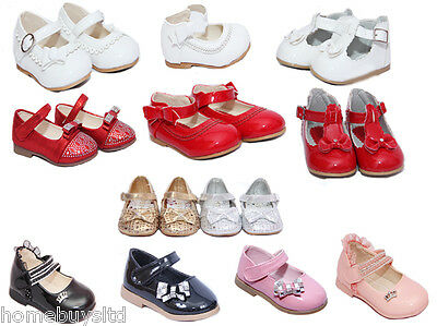 Baby Girls Infant Party Shoes Christening Red White Pink Pram Size Wedding New