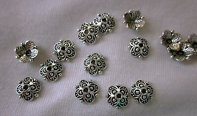 30 Antique Silver Coloured 10x10mm Bead Caps #bc3114 Combine Post-See Listing