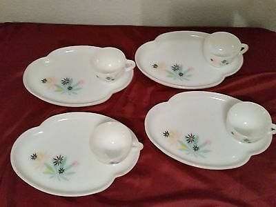 Vintage 1950's Federal Glass Company Patio Snack Set of 4 Milk Glass~Mint Condt,
