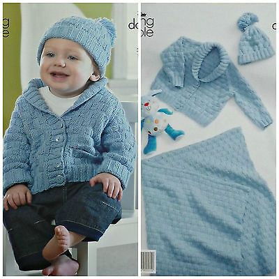KNITTING PATTERN Baby Basket Weave Jacket Blanket & Hat DK King Cole 3513