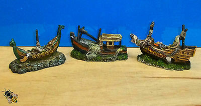 Aquarium Ornament Boat Ship Viking Pirate Fishing Fish Tank New