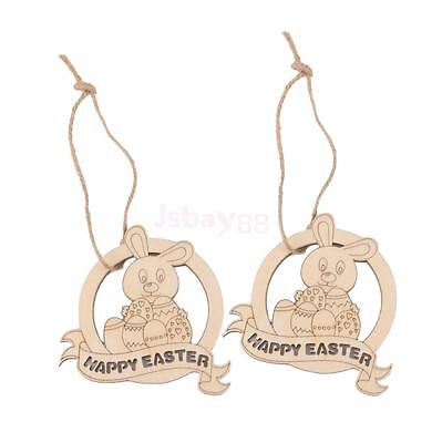 10 Laser Cut Happy Easter Rabbit Wooden Tag Embellishment Scrapbooking Craft