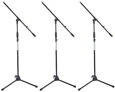 3x HIGH QUALITY PROFESSIONAL BOOM MICROPHONE MIC STAND HOLDER ADJUSTABLE BLACK