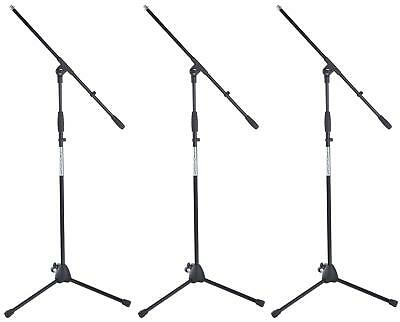3x Professional Microphone Mic Boom Stand Holder Tripod Adjustable Robust Black