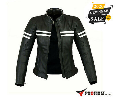 Pro First Motorcycle Ladies Leather Jacket with Armour Motorbike Women Jacket