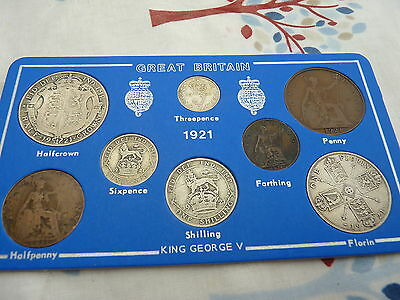 1921 George V Full Set of 8 Coins - Some Half Silver