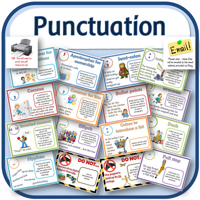 PUNCTUATION POSTERS KS1 KS2 ENGLISH GRAMMAR SPaG Teaching resources display