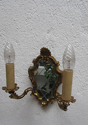 Sconce with mirror 2 braces gilded brass Hollywood Regency   good condition