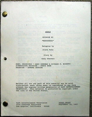 """Sable Script """"Watchdogs""""  and """"Hunt"""" 1987"""