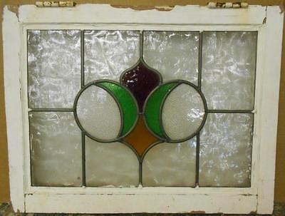 "MID SIZED OLD ENGLISH LEADED STAINED GLASS WINDOW Pretty Abstract 22.5"" x 17.25"""