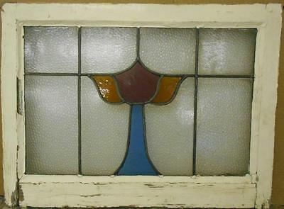 """MID SIZED OLD ENGLISH LEADED STAINED GLASS WINDOW Pretty Chalice 24"""" x 17.75"""""""
