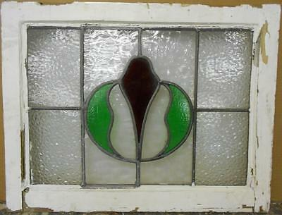 "MID SIZED OLD ENGLISH LEADED STAINED GLASS WINDOW Pretty Abstract 23.25"" x 18"""
