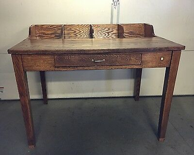 Antique Very Rare Solid Oak Sorting Table w/Drawer Copper Screen Pa Farm Find