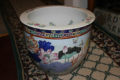 Stunning Chinese Pottery Koi Gold Fish Bowl Planter-Colorful Flowers Butterflies