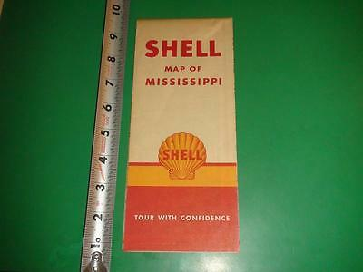 JE813 Vintage Shell Oil Map of Mississippi with 1940 Census